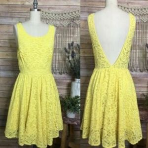 Urban Outfitters Pins Needles Yellow Mini Dress